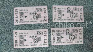 羽田空港から浜松町乗り換え170円区間の切符