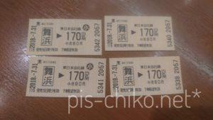 舞浜から170円区間の切符