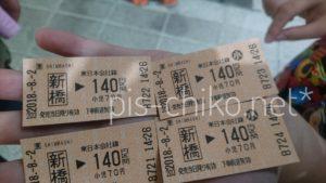 新橋から140円区間の切符