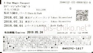 ディズニー3 Day Magic Passport 裏面